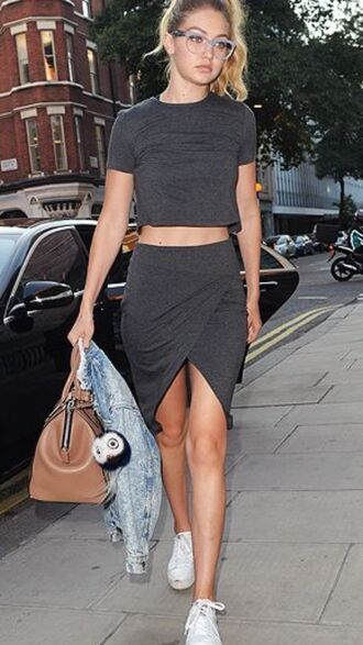 grey gigi hadid grey skirt grey crop top grey top asymmetrical skirt