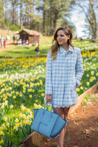 gal meets glam blogger coat celine bag gingham blue bag light blue