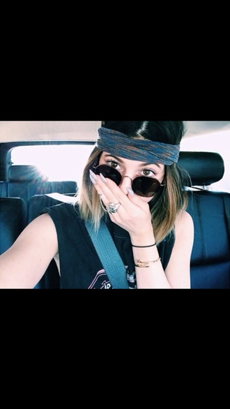 scarf headband kylie jenner hair accessory indie grunge hair sunglasses