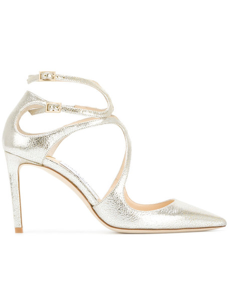 Jimmy Choo women pumps leather grey metallic shoes