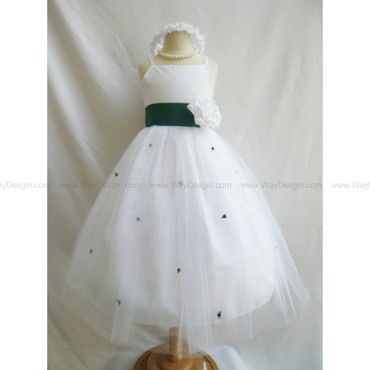 Flower Girl Dress - WHITE Tulle Dress with Green HUNTER Sash and Rosebuds - Easter, Jr. Bridesmaid, Wedding - Baby to Teen