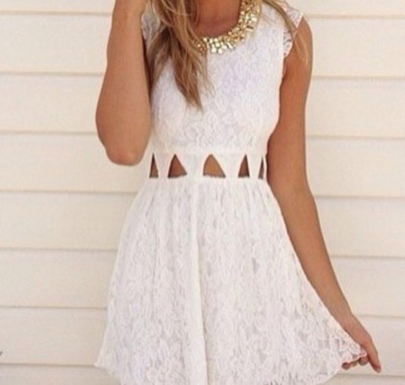 dress pearl pretty lace gold white i want this
