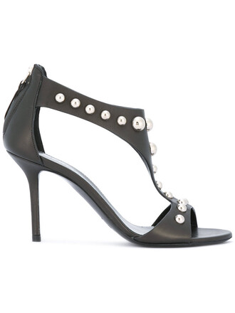 heel studded metal women sandals studded sandals leather black shoes