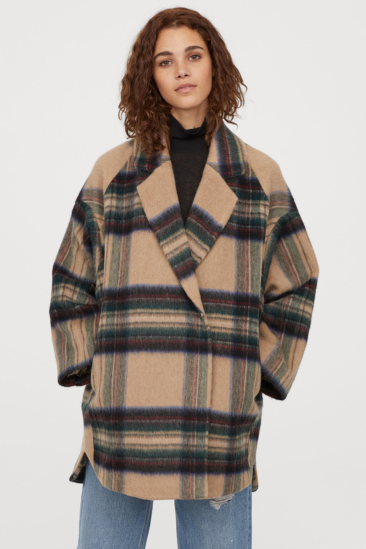 Mantel aus Wollmischung - Beige/Kariert - Ladies | H&M DE