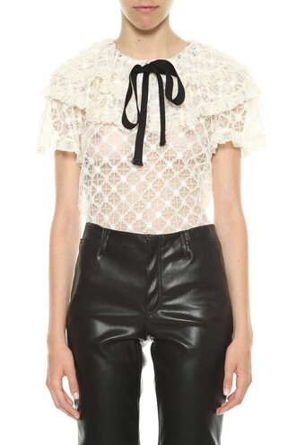 blouse bow lace black top