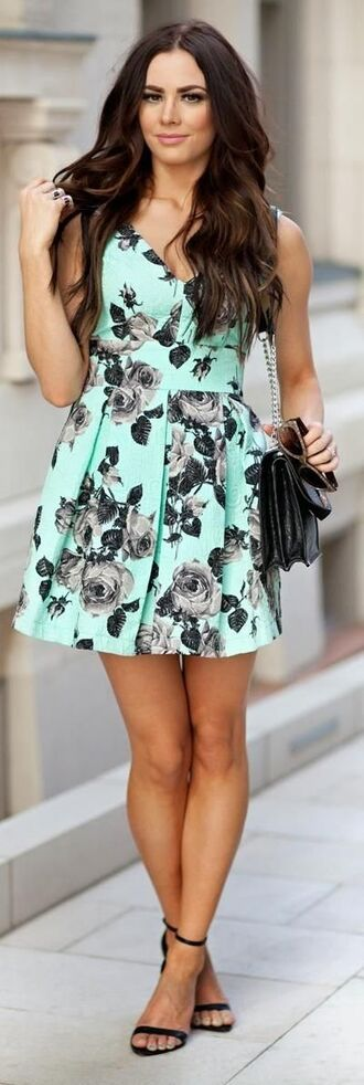 dress flowers floral dress summer cute beautiful mint