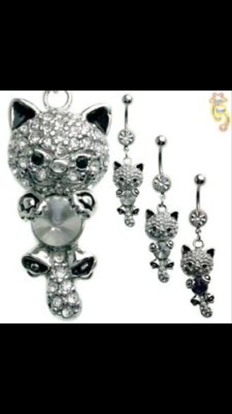 jewels silver stoned cats ball belly button ring ring