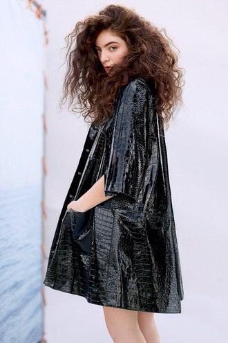 coat lorde black coat shiny crocodile