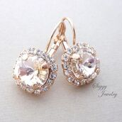 jewels,siggy jewelry,jewelry,earrings,halo earrings,bridal earrings,bridal jewelry,rose gold,champagne,champagne dress,wedding accessories,bridesmaids gift,drop earrings,dangle earrings,blush,pink blush,light pink,swarovski silk,gifts for her,moda,model,bodas,boda,wedding,sparkle,glamour,fashion,beauty fashion shopping,mother of the bride,mother of the groom,maid of honor,bling