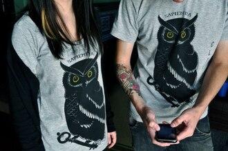 shirt owl t-shirt gray