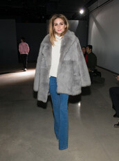 coat,grey,grey coat,fur,fur coat,fashion week 2016,NY Fashion Week 2016,olivia palermo,denim,sweater,big fur coat,turtleneck sweater,turtleneck,white sweater,flare jeans,blue jeans,jeans,winter coat,winter outfits,streetstyle