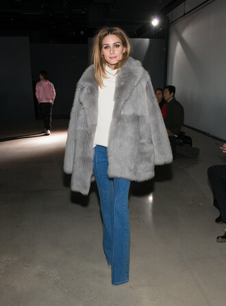 coat grey grey coat fur fur coat fashion week 2016 ny fashion week 2016 olivia palermo denim sweater big fur coat turtleneck sweater turtleneck white sweater flare jeans blue jeans jeans winter coat winter outfits streetstyle