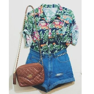 shirt vintage button down button up old hipster streetwear hippie old fashion school bus shorts