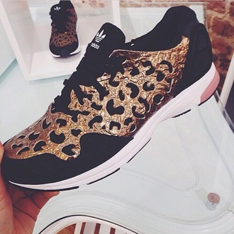 shoes trainers running shoes adidas black gold leapod print style swag sports shoes metal