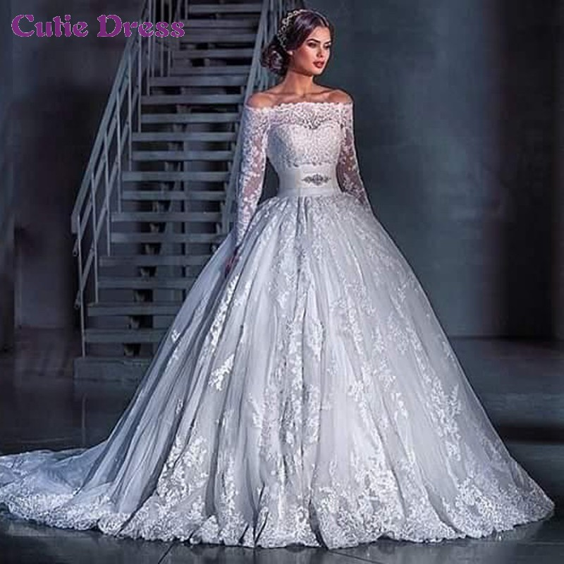 White lace 2015 elegant off the shoulder appliqued long for Elegant long sleeve wedding dresses