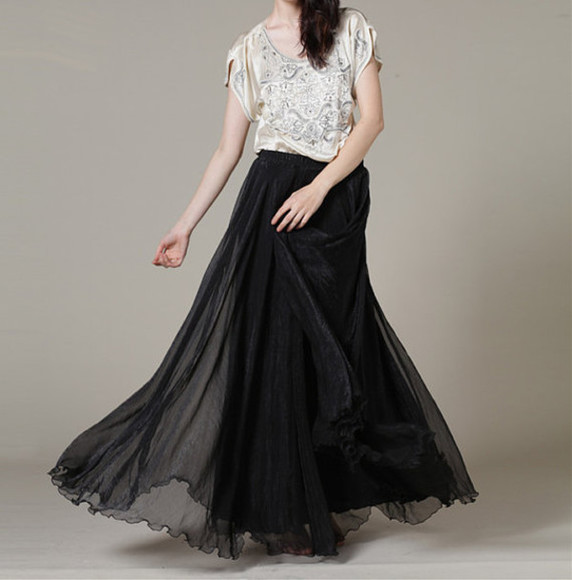 skirt black skirt maxi skirt long summer skirt