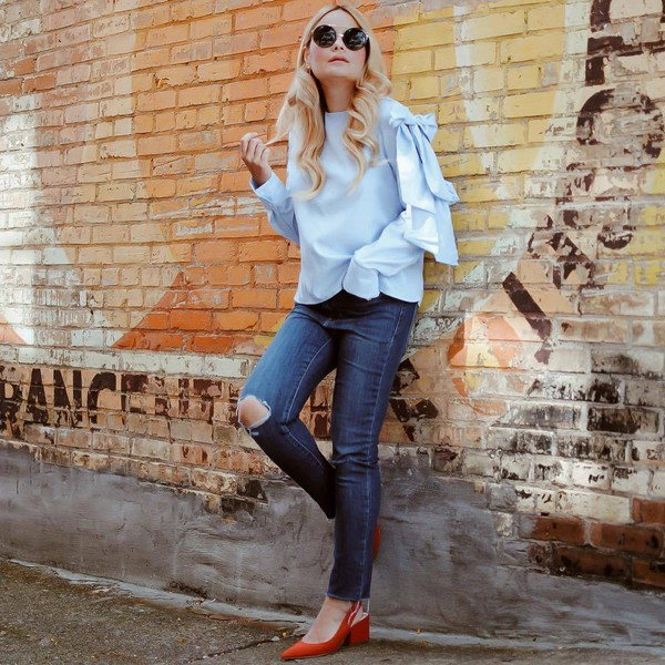 46829add5ea shoes tumblr red shoes slingbacks top blue top bell sleeves denim jeans  blue jeans ripped jeans.