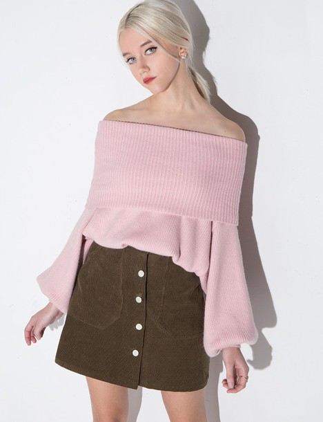 Sweater: dusty pale pink off the shoulder sweater, dusty pink ...