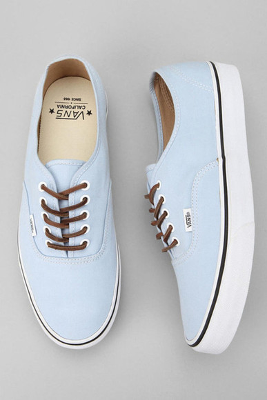shoes vans blue indie hipster shows unique brown pale blue vans nice sweet shoe cute vans light blue and chocolate brown laces bleu clair pastel baby blue brushed twill pastel blue pastel color