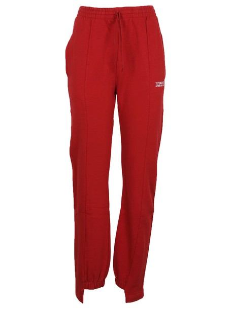 Vetements pants track pants red