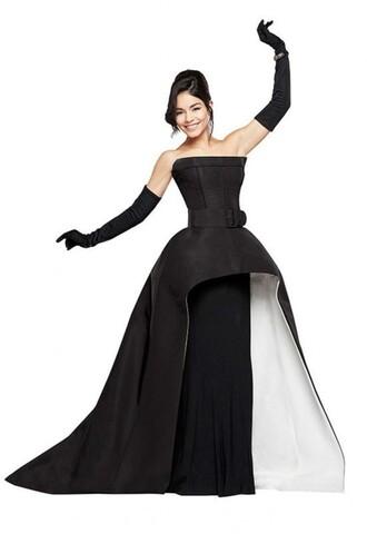 dress gown vanessa hudgens prom dress black and white