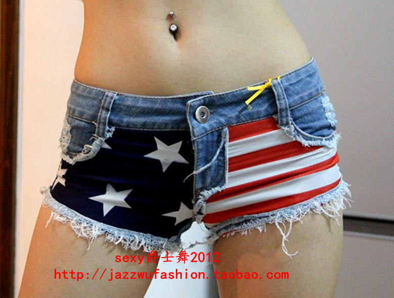 2013 summer shorts Jazz dance Female Singer ds Women's slim hip Sexy American flag shorts-inJeans from Apparel & Accessories on Aliexpress.com