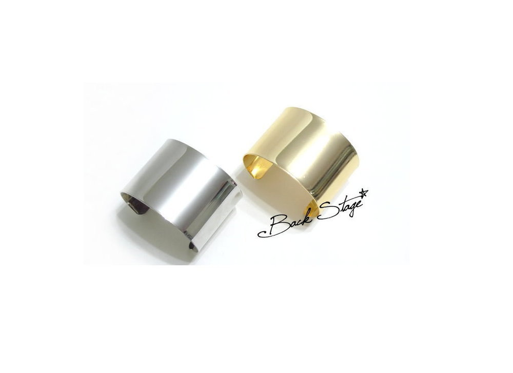 2 Colors Metal Runway Mirrors Armor Cuff Bracelet | Back Stage*