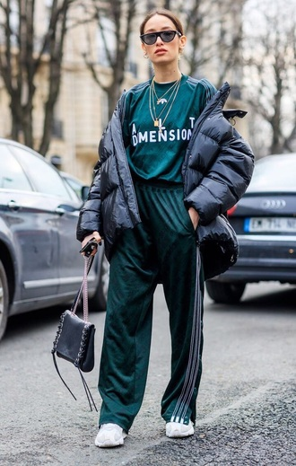 pants green pants jacket black jacket puffer jacket oversized oversized jacket sunglasses track pants tracksuit sweatshirt streetstyle sneakers