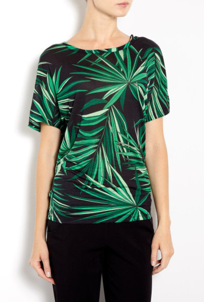 top michael kors michael kors tropical tropical shirt tropical top palm tee palm tree leaves leaf print green black t-shirt palm tree print
