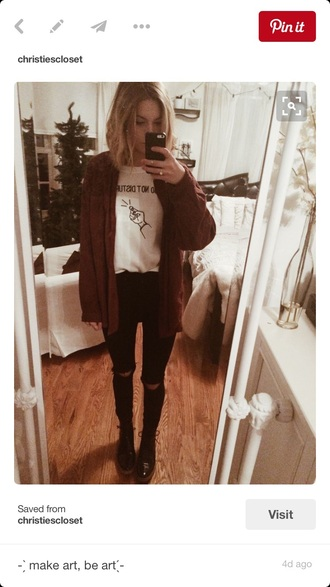 coat brown jacket cardigan grunge black jeans ripped cute outfit