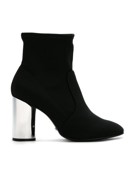 Schutz heel metallic women ankle boots leather black shoes