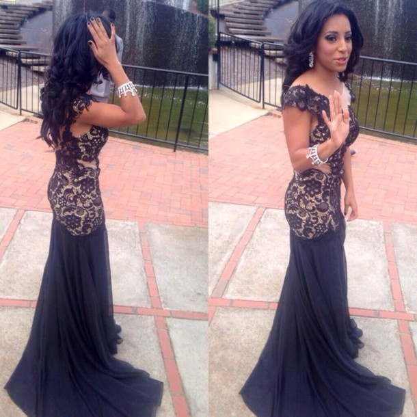 dress, prom, black, cute, hot, floral, lace, sheer, nude - Wheretoget
