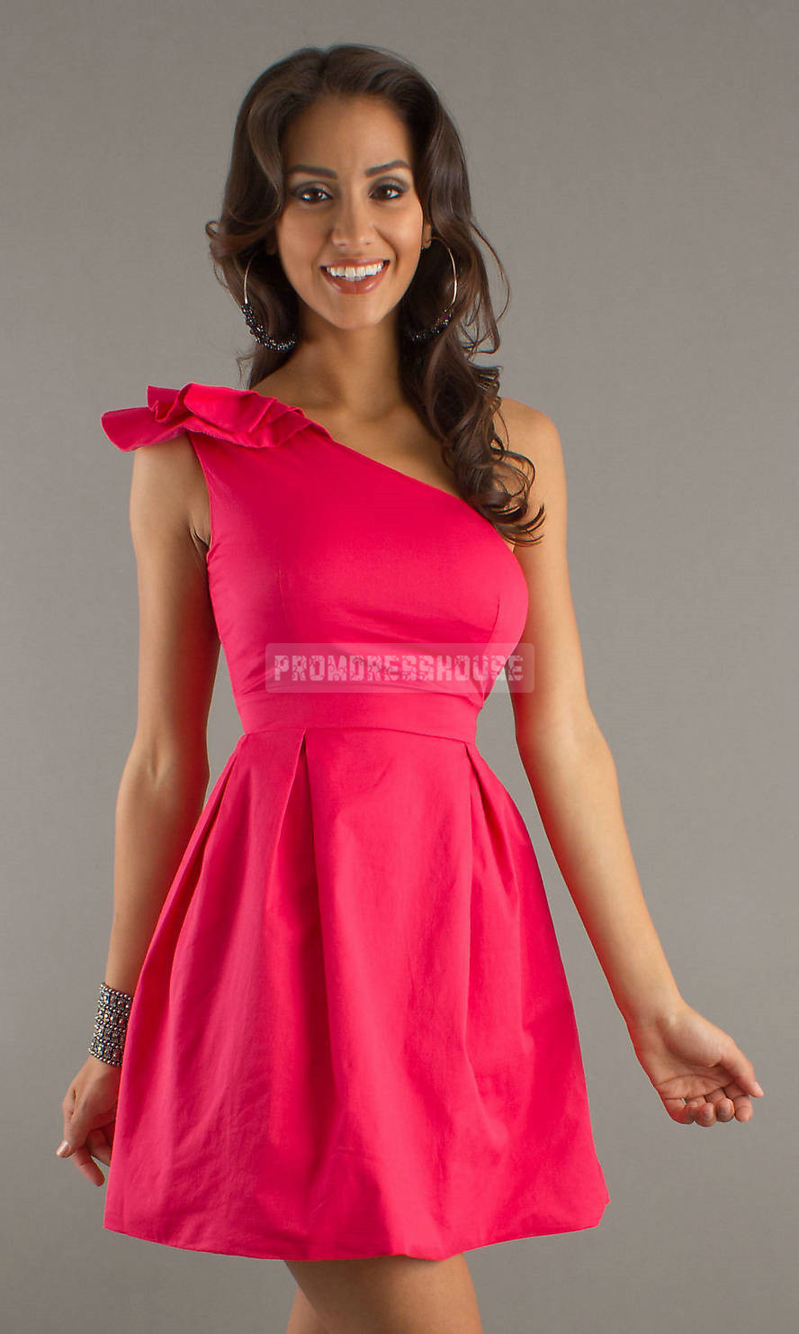 One Shoulder Sleeveless Short Length Taffeta Fuchsia Cocktail Dress - Promdresshouse.com