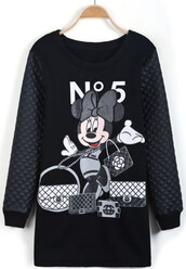 dress,mickey mouse,print,little black dress,hooded,mickey mouse sweater
