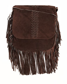 Jessica Suede Fringed Crossbody Bag, Brown