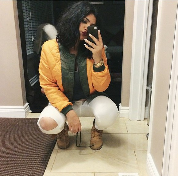 yellow jewels green fashion jacket denim style winter jacket coat winter sweater winter outfits winter boots fall jacket timberlands green jacket white white jeans ripped jeans jeans watch gold outfit