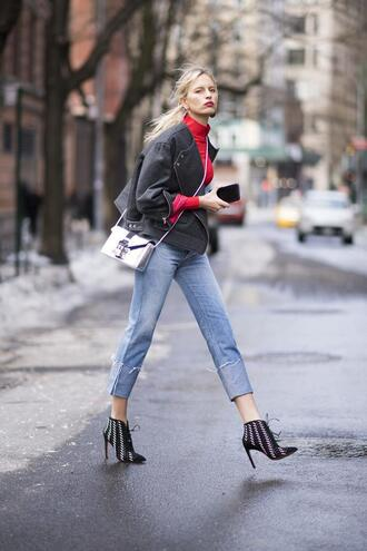 jacket nyfw 2017 fashion week 2017 fashion week streetstyle grey jacket top red top denim jeans blue jeans cropped jeans bag silver bag metallic boots black boots ankle boots high heels boots pointed boots