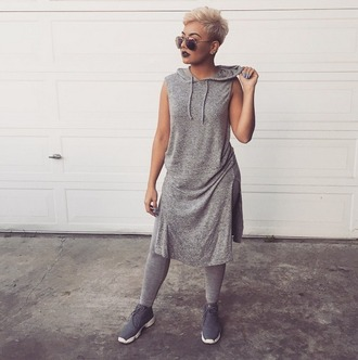 dress grey dress urban grey shoes hair accessory all grey everything