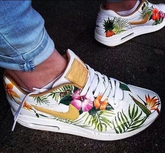 shoes nike air max white golden airmax1 tropical flowers tumblr indie boho