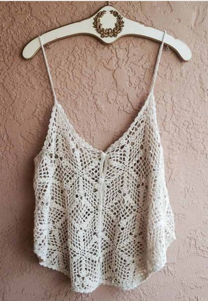 shirt boho crochet beach crotchet shirt summer summer shirt tank top tan tank top top wow nice white top