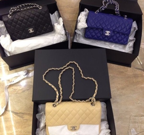 bag blue black gold yellow purse chanel