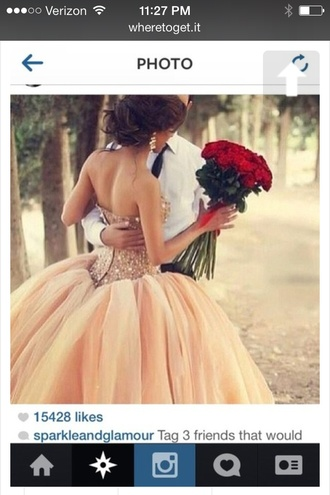 dress peach dress ball gown dress tulle skirt