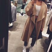 coat,beige,long coat,clothes,clothe coat,nude,nude coat,classy,classy coat,chic,camel,camel coat,trendy,trendy cardigan,waterfall drape coat,jacket,top,t-shirt,waterfall coat,waterfall beige coat,waterfall camel coat,boyfriend jeans,jeans,crop tops,white crop tops,shoes,adidas shoes