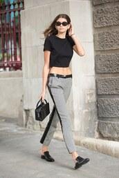 pants,crop tops,top,kaia gerber,model off-duty,streetstyle,london fashion week 2017,sunglasses
