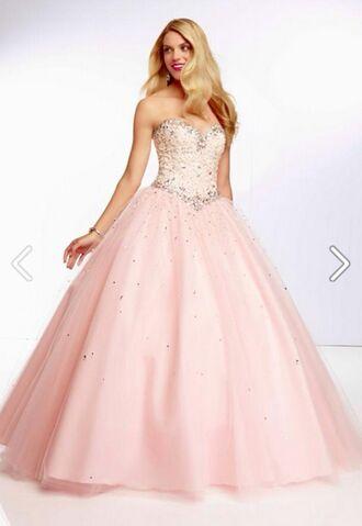 pink dress glitter prom lovely cinderella quinceanera dress