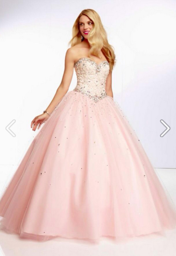 dress, prom, pink, glitter, lovely, cinderella, quinceanera dress ...