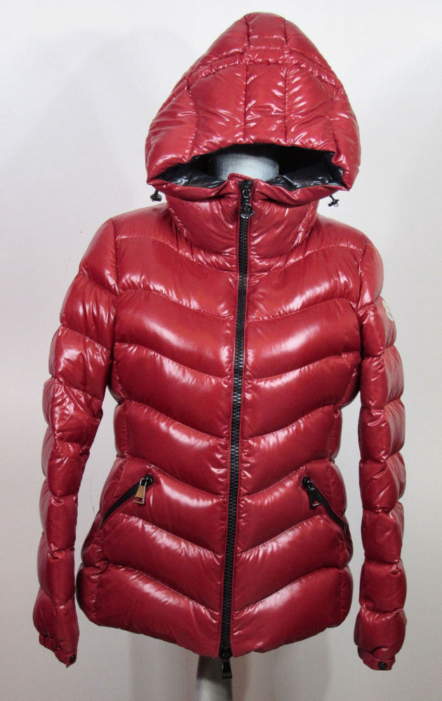 Moncler Anthia Women's Water Resistant Shiny Hooded Down Puffer Coat size 3, Red