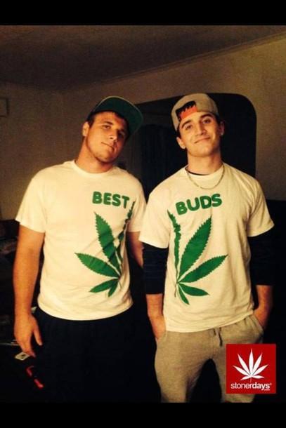 shirt white green hemp maryjane best buds cool friendship shirt