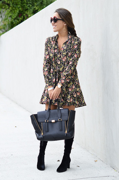 dress tumblr mini dress floral floral dress long sleeves long sleeve dress bag black bag boots black boots over the knee boots thigh high boots sunglasses round sunglasses watch suede boots suede fall outfits fall dress