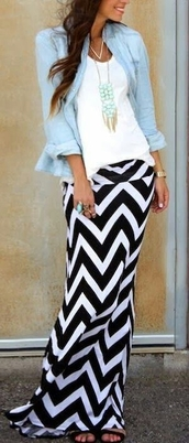 skirt,shirt,top,blouse,dress,maxi skirt,denim shirt,chevron,black and white